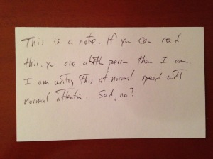 example of my handwritten note